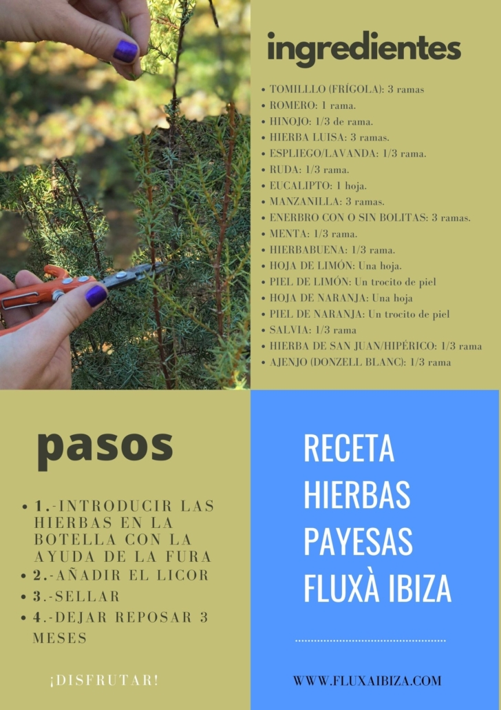Receta hierbas payesas fluxa ibiza